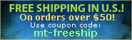 Free Shipping in U.S. on all orders over $50!